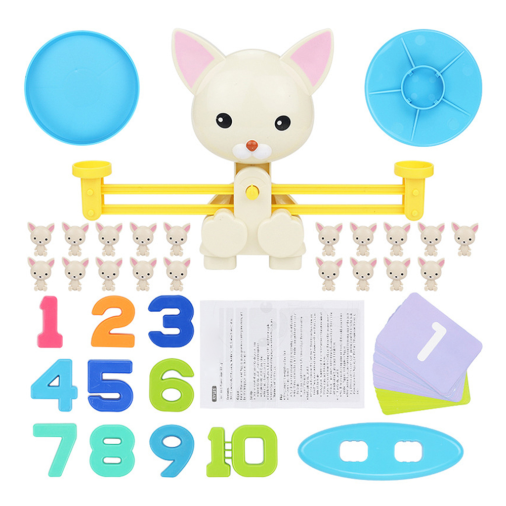 Math Match Game Board Toys Monkey Cat Match Balancing Scale Number Balance Game Kids Educational Toy to Learn add and subtract image