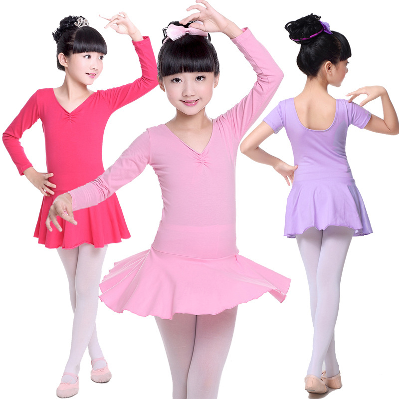Children dance Tulle Dress Suspender Girl Ballet Dress Fitness Clothing Performance Wear Leotard Costume Cotton Long Sleeve