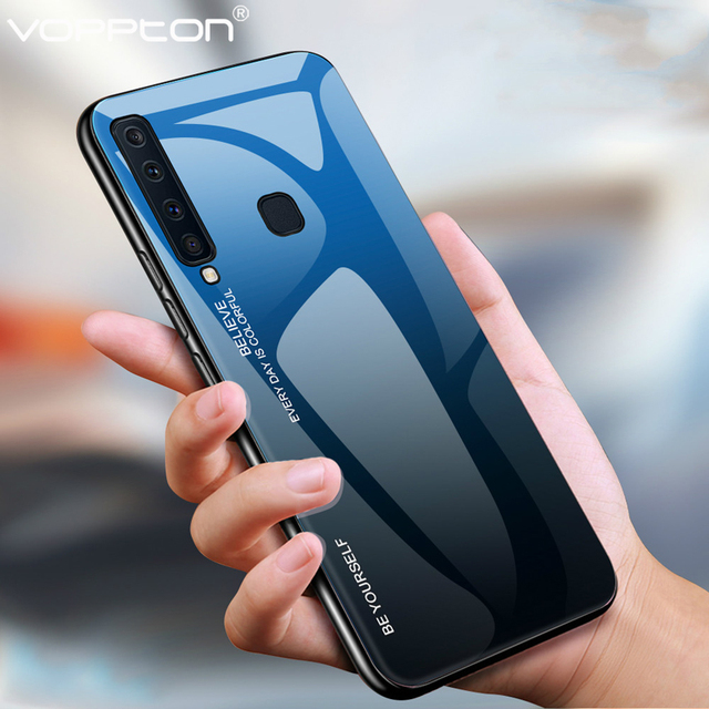 For Samsung Galaxy A9 2018 Case Gradient Tempered Glass Hard Case Soft TPU Silicone Frame Glass Cover for A70 A50 A40 A30 A60