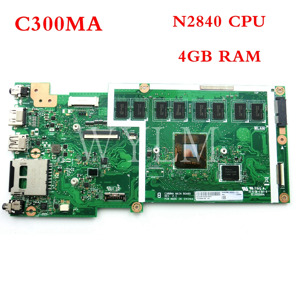 все цены на C300MA with N2840CPU 4GB memory mainboard For ASUS C300MA C300M laptop motherboard 60NB05W0-R04300 tested good