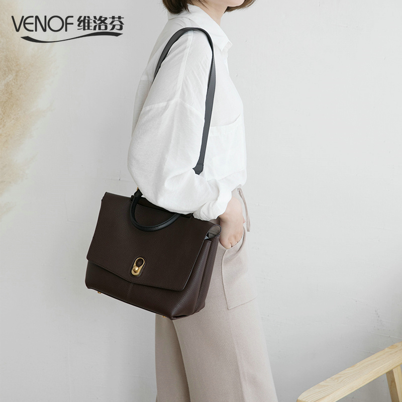 VENOF Real Cow Leather Ladies HandBags Women Genuine Leather Tote bags shoulder Bag Hign Quality Designer