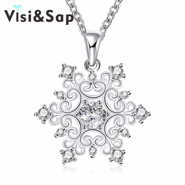 3f10753b76b9 Visisap flor de nieve collares para mujeres clásico cubic zirconia colgante  del encanto de la joyería de lujo regalos de aniversario collar VLKN771€  4