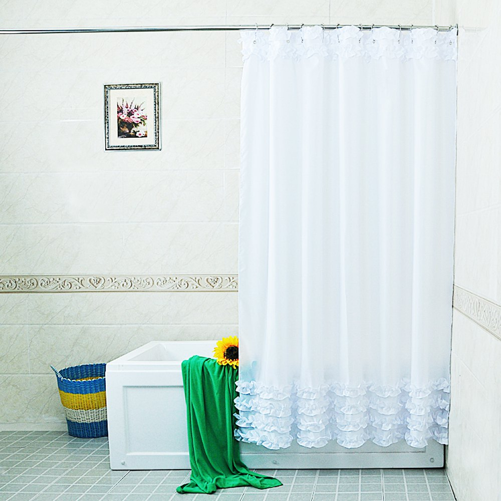 New Home Decoration Bathroom Shower Curtain Waterproof Moldproof Solid Polyester Fabric Lace Curtain With Hook Elegant White