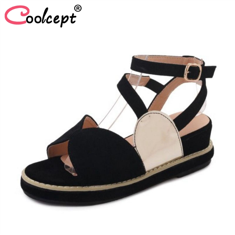 Coolcept Women Flats Sandals Mixed Color Daily Club Shose Women Simple Vacation Beach Sandals Casual Footwear Size 35-39