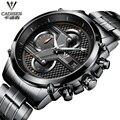 2016 Marca de Luxo Homens Relógios de Quartzo Relógio cadisen Business Casual relógio de Pulso dos homens de Aço Completo Relógio militar Relogio masculino