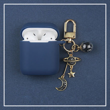 Lujosa funda de silicona de estrella de diamante con decoración de Luna para Apple Airpods, accesorios, funda protectora inalámbrica para auriculares Bluetooth
