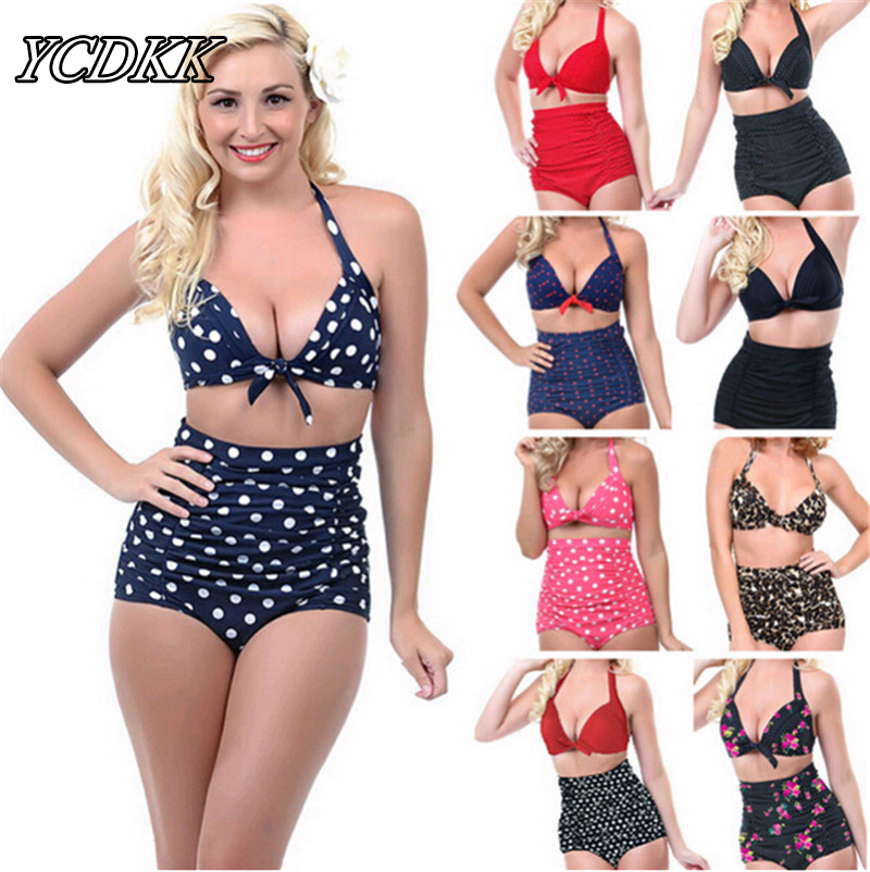 Push-up Swimsuit 2016 High Waist Bikini Plus Size Women Swimwear Dot Bathing Suit Padded Bikini Set Retro Bandage Sexy Beachwear newest plus size bikini women ladies sexy retro padded push up high waist bikinis set swimwear swimsuit bathing xxxl