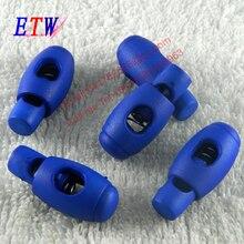 Модная нейлоновая пробка 1 отверстие для шнура замок синий Цвет конец шнура 100 шт./лот