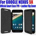 Para o google nexus 5x6 p case oficial melhor qualidade smart case de silicone tpu capa de couro da aleta para lg nexus 5x6 p + tela de cinema l5x4