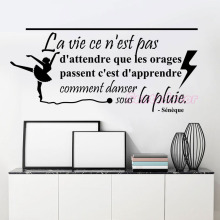 French Quote La Vie Seneca Vinyl Wall Sticker Removable Wall Decals Mural Wall Decor for Living Room Home Decor House Decoration