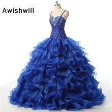 2017 Ball Gown Spaghetti Strap Floor Length Beaded Crystals Organza Royal Blue Cheap Quinceanera Dresses Vestidos de 15 anos