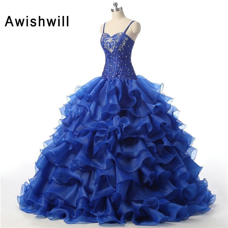 2019 Бальні сукні Спагетті ремінь довжини підлоги з бісеру кристали Органза Королівський синій Дешеві сукні Quinceanera Vestidos de 15 anos