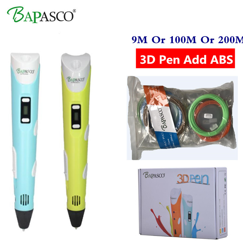 3D pens BAPASCO 2nd Generation RP-100B OLED Display DIY 3D Printer Pen With 100M Or 200M ABS Arts 3d pens For Kids Drawing Tools 3d pen 2nd generation rp 100b led display diy 3d printer pen with 4 color 5m filament arts 3d pens for kids drawing tools