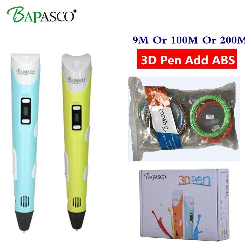 3D stylos BAPASCO 2ème Génération RP-100B OLED Affichage DIY 3D Imprimante Stylo avec 100 M Ou 200 M ABS Arts 3d stylos Pour Enfants Dessin Outils