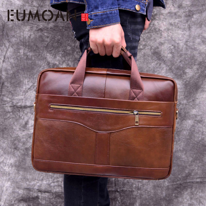 EUMOAN Genuine Leather Handbag Briefcase Business Casual Men's Bag Cross Section First Layer Leather Computer Bag