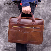 EUMOAN genuine Leather handbag briefcase business casual men's bag cross section first layer leather computer bag p kuone first layer cowhide male bag business men handbag cross section shoulder bags genuine leather briefcase laptop bag
