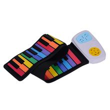 49 Keys Rainbow Roll-Up Piano Electronic Keyboard Colorful Silicon Keys Built-in Speaker Musical Education Toy for Children Kids(China)