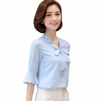 2019 summer new elegant Chiffon tops Shirts women fashion Casual Bow V Neck Blouses red Loose Butterfly Sleeve Shirts women