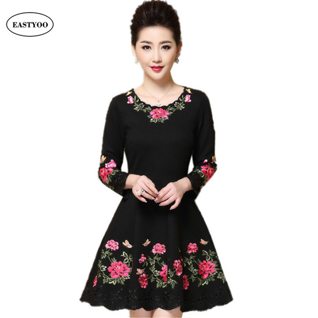 Aliexpress.com : Buy Rose Embroidery Dress Women Black Cotton ...