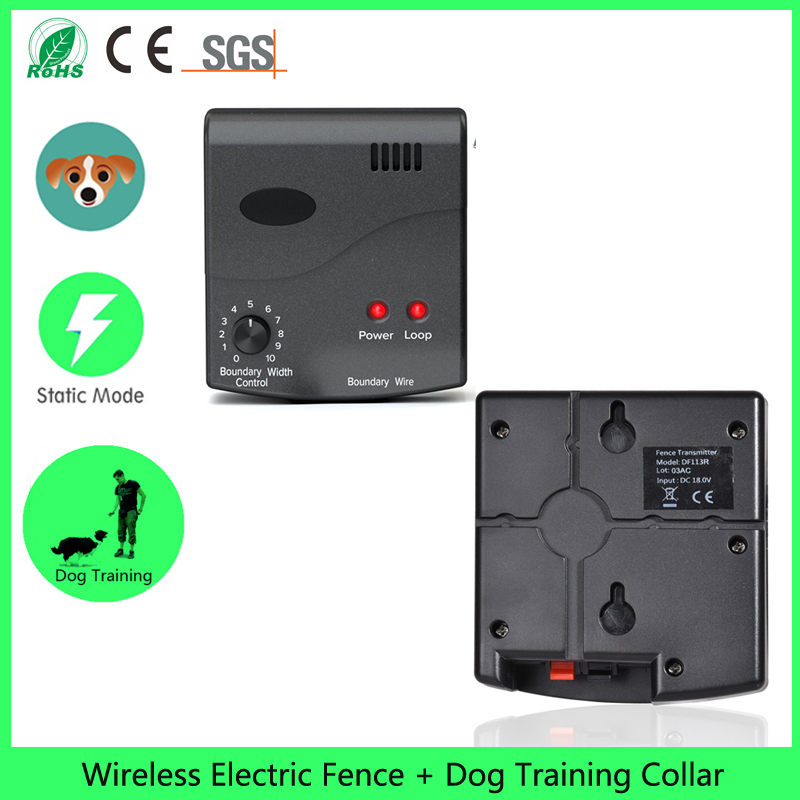 wireless dog fence containment system with variable intensity collar and mainland