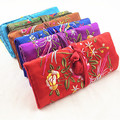 Big Multi Zipper Embroidery Jewellery Gift Bags Travel Roll Storage Silk Fabric Drawstring Cosmetic Trinket Packaging Pouches