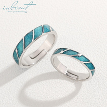 inbeaut Silver Meteor Shower Couple Rings Light Blue Enamel Romantic Wish S925 Ring for Women Wedding Gift Lovers Jewelry