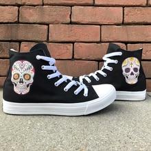 Wen diseño estilo mexicano cráneo tatuaje Skateboard zapatos de lona hombres  negro High Top blanco mujeres 29175cb4d2243