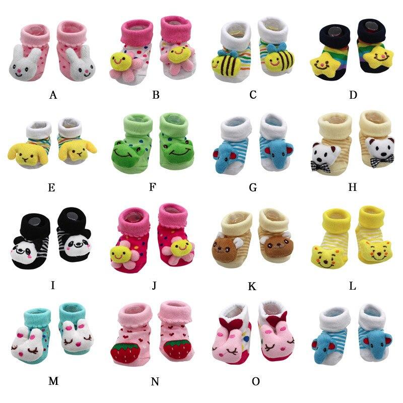 Cartoon Newborn Baby Girls Boys Anti-Slip Socks Slipper Bell Home Shoes Boots AB