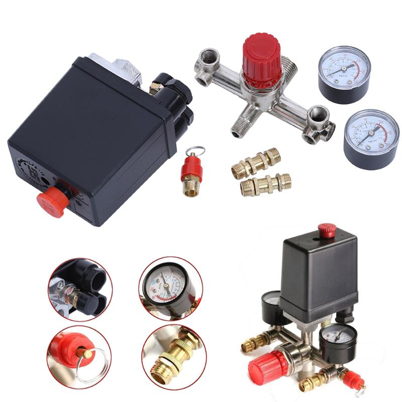 Brand New 90-120PSI Air Compressor Pressure Switch Control Valve Manifold With 20A 240V Adjustable Air Regulator Press air compressor pressure valve switch manifold relief regulator gauges 90 120 psi 240v 17x15 5x19 cm hot sale