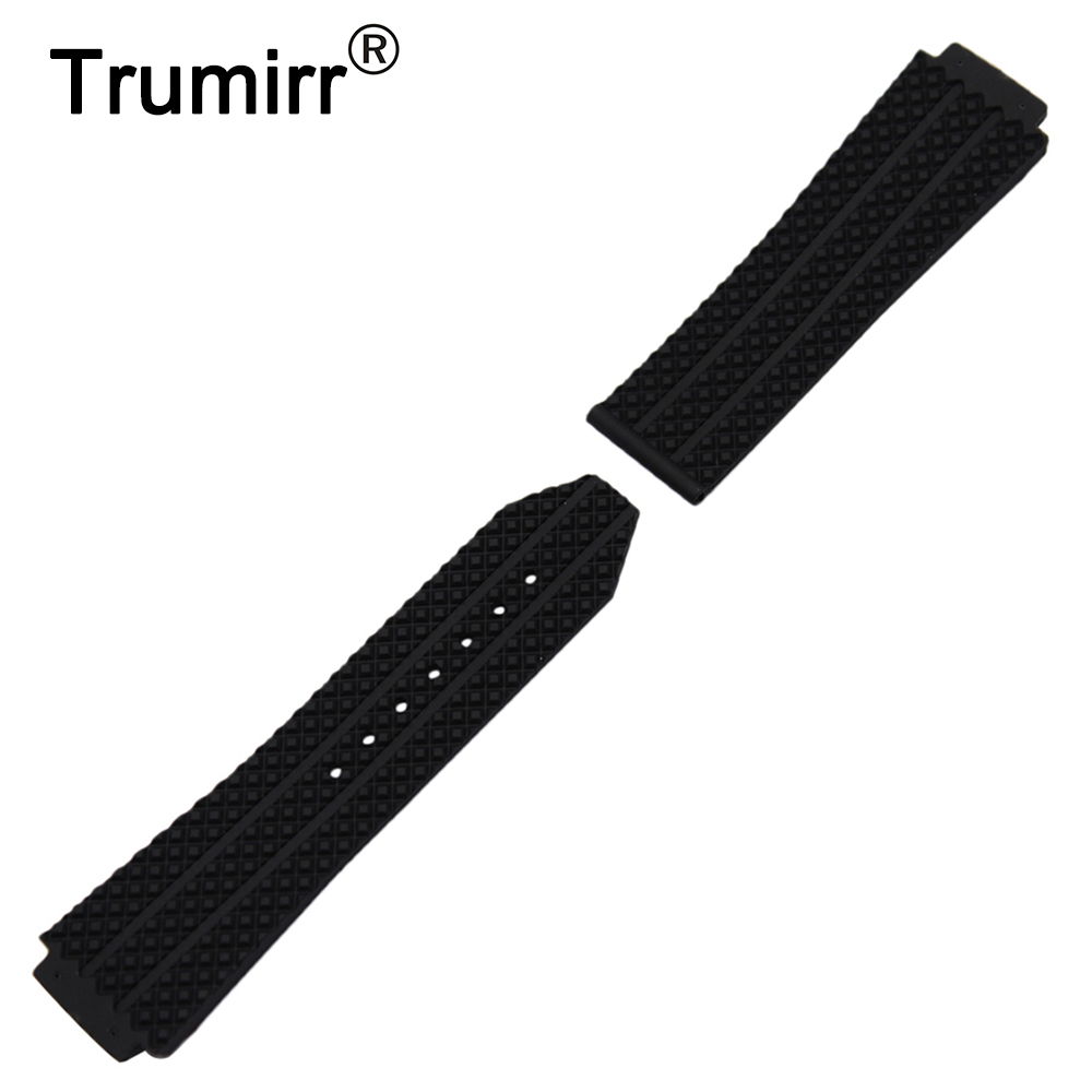 Silicone Rubber Watchband 26mm x 19mm for Hublot Big Bang Watch Band Convex Strap Butterfly Buckle Wrist Belt Bracelet Black silicone rubber watchband double side wearing strap for armani ar watch band wrist bracelet black blue red 21mm 22mm 23mm 24mm