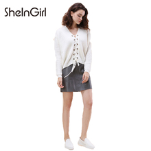 SheInWoman Women Solid White Lace-up Sweater V-neck Long Sleeve Weave Sweater Front Short Long Back Drop Shoulder Autumn Sweater