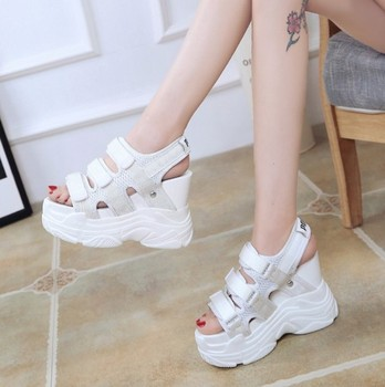 Platform Wedge Sandals | Women Sandals 2019 Summer Ladies Mesh Platform Sandals 12CM Wedges Thick Bottom Casual Women Sneakers Comfortable White