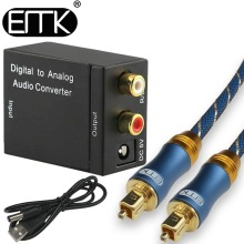 Digital To Analog Audio Converter DAC Digital Optical Coaxial Toslink Signal to Analog Audio Converter Adapter RCA Black