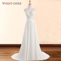 Vivian S Bridal Beading White Wedding Dress Long V Neck A Line Crystal Chiffon Wedding Gowns