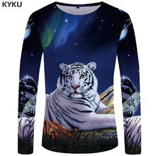 KYKU Brand Tiger T shirt Men Long sleeve Galaxy Rock Weeds Streetwear Animal Cool Funny shirts Japan Mens Clothing