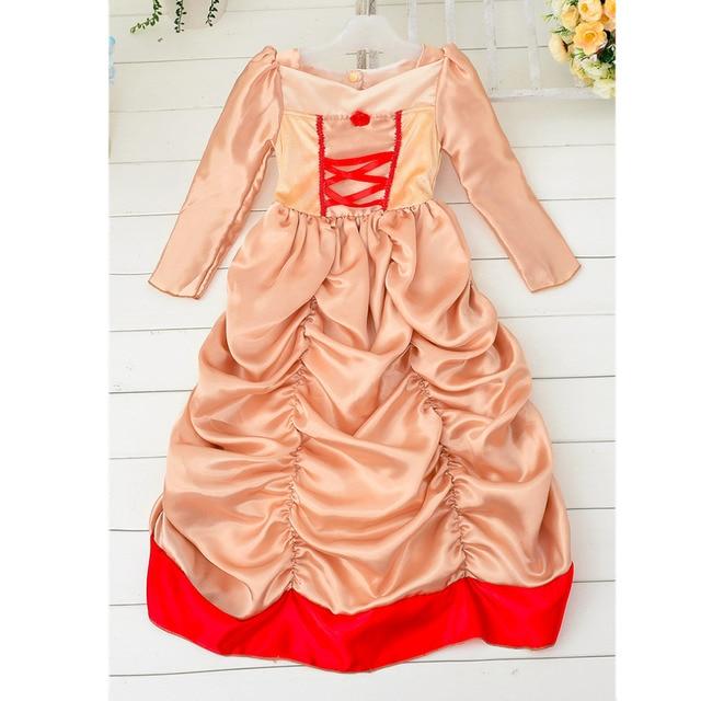 Новая Мода Девушки Косплей Пузырь Длинные Платья Абрикос + Красный Костюм Дети Принцесса Выполнять Рождественский Карнавал Необычные Платья Halloween