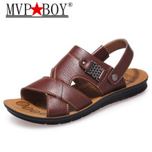 Mvp Boy Mens Summer Flats Beach Sandals Genuine leather comfortable slip-on casual sandals fashion Men Shoes zapatillas hombre