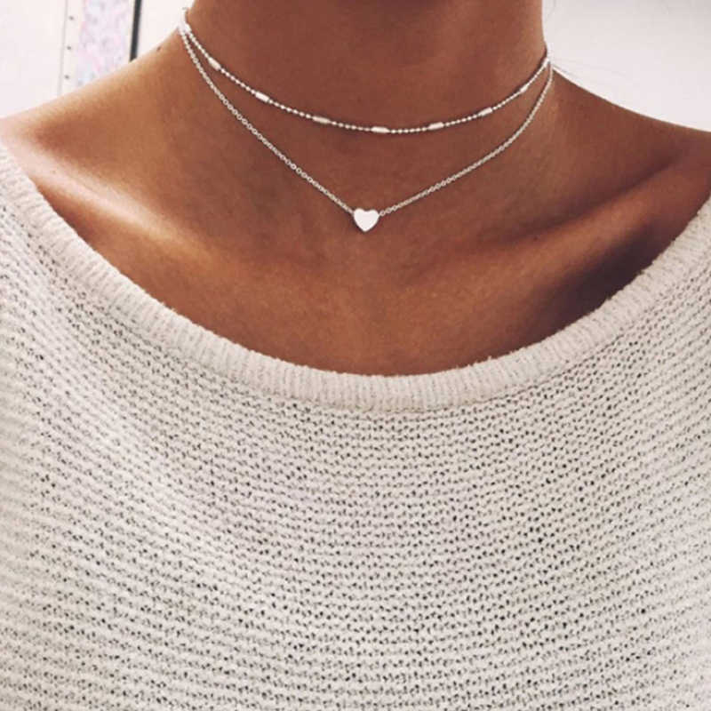 Small heart choker Necklace for women gold silver chain Small love NECKLACE PENDANT in collar Bohemian Chocker necklace jewelry