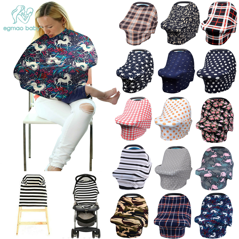Multifunctional 5 In 1 Baby Breastfeeding Cover Car Seat Canopy Shopping Cart Trendy Scarf