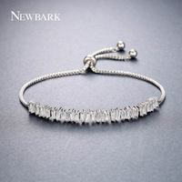 Newbark Jewelry Adjustable Bracelet For Women Pave AAA Cubic Zirconia High Quality Simple Silver Color Charms