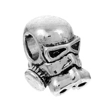 DoreenBeads Zinc Based Alloy 3D European Charm Beads Gas Mask Human head Silver Color About 13 x11mm, Hole: 4.6mm, 5 PCs