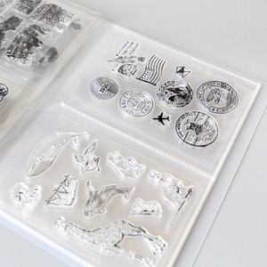 Image 4 - Clear Stamps& Die Cuttings Storage Box Pocket Album Holds 80pcs Clear Stamps 17.8x12.7cm 2 per page Clear stamps organization