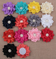 13 Colors Lotus Flower With Rhinestone Pearl Button For Baby Hair Accessories Double Fabric Flowers For