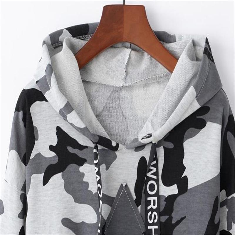 Image 5 - MERRY PRETTY Women Camouflage Printed Cropped Hoodies Sweatshirts Long Sleeve Tracksuit 2018 Autumn ArmyGreen Hooded PulloversHoodies & Sweatshirts   -