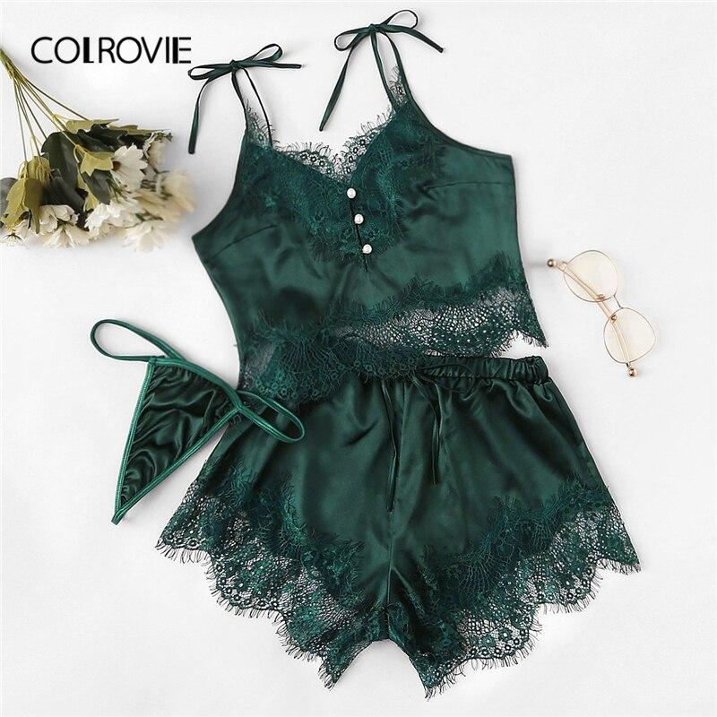 COLROVIE Green Satin Lace Cami Top And Shorts And Thong Pajama Set Women 2019 Fashion Pajamas Lounge Sleepwear Sexy Nightgown