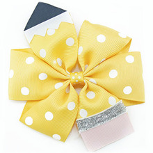 Adogirl 6pcs 4.5 School Hair Bows Go back to Stacked Boutique Clips Crayon Handmade Pencil Accessories Gifts
