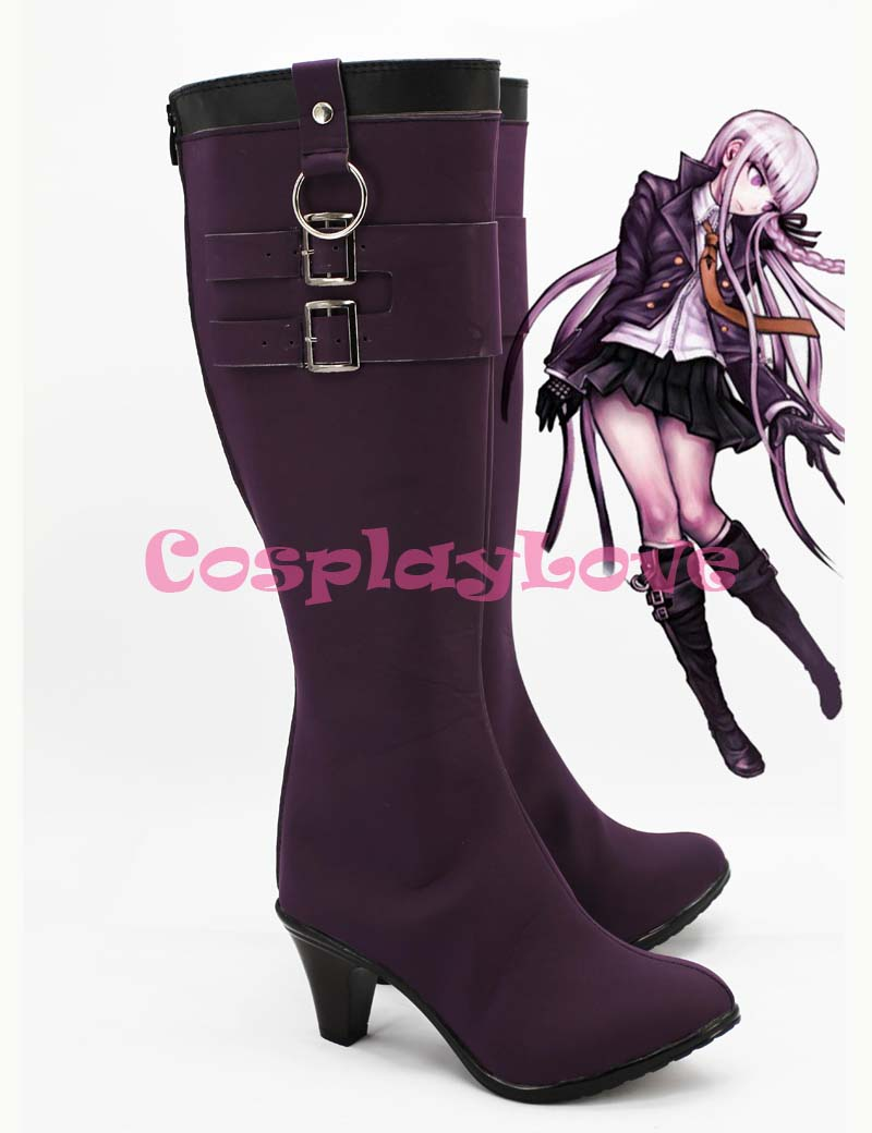 Danganronpa Dangan Ronpa Kyouko Kirigiri Purple Cosplay Shoes Boots Hand Made For Halloween Christmas Festival CosplayLove