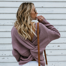 Backless Criss Cross Female Knitted Sweaters 2019 Autumn Winter Fashion For Women Solid Casual Pullover