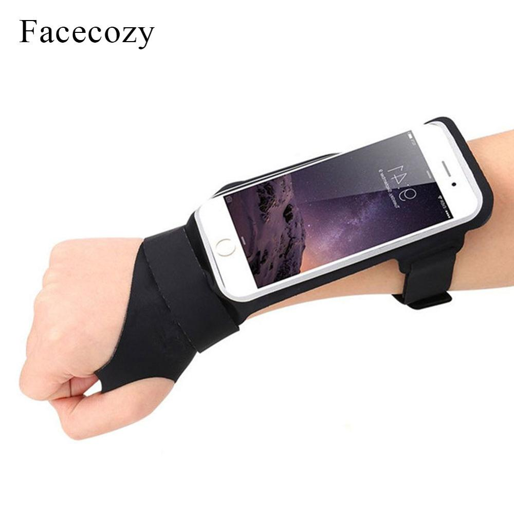 Facecozy Running Waterproof Wrist Bags 6-Inch Phone Universal Fitness Gym Bag Work Out Outdoor Cycling Arm Packs With Thumb Hole