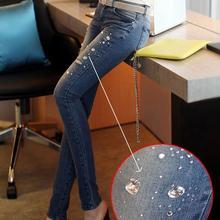 new fashion women's denim jeans autumn-summer slim skinny ripped jeans rhinestones sexy jeans female Free Shipping
